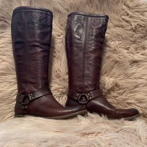 Dark brow tall Frye boots